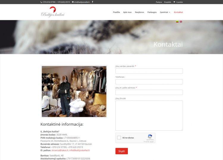 Baltijos kailiai – natūralaus kailio išdirbimas, kailinių gaminių siuvimas ir pardavimas